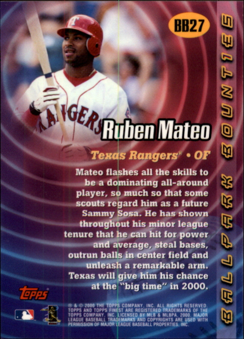 2000 Finest Ballpark Bounties #BB27 Ruben Mateo back image
