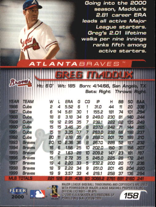 2000 Fleer Focus #158 Greg Maddux back image