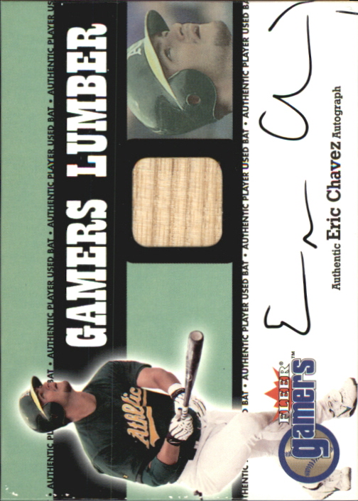 2000 Fleer Gamers Signed Lumber #3 Eric Chavez