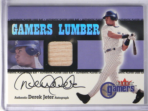 2000 Fleer Gamers Signed Lumber #7 Derek Jeter