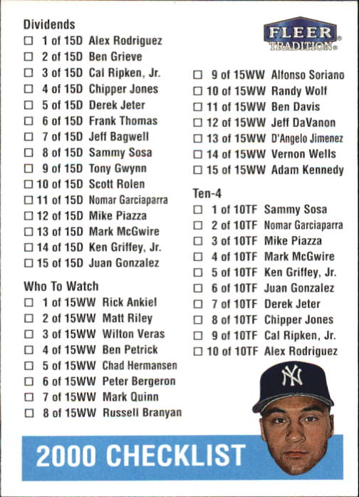 2000 Fleer Tradition #427 Checklist/D.Jeter