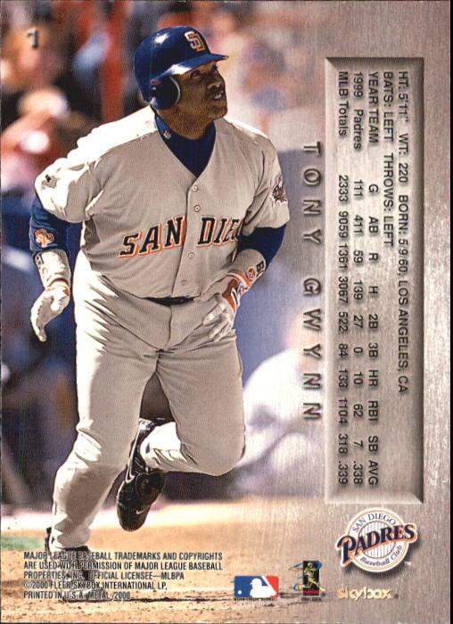 2000 Metal #1 Tony Gwynn back image