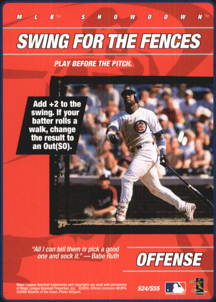 2000 MLB Showdown Strategy #S24 S.Sosa/Swing for Fences