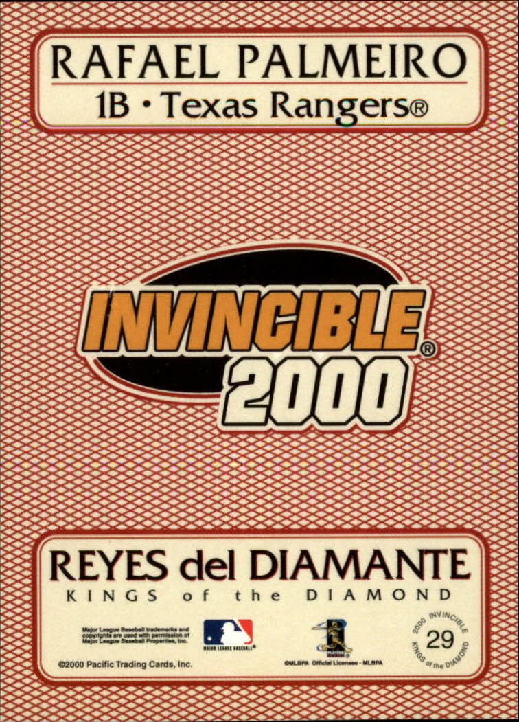 2000 Pacific Invincible Kings of the Diamond #29 Rafael Palmeiro back image