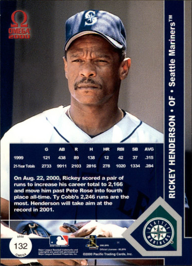 2000 Pacific Omega #132 Rickey Henderson back image