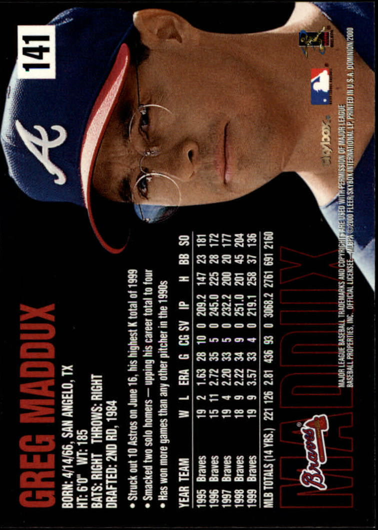 2000 SkyBox Dominion #141 Greg Maddux back image