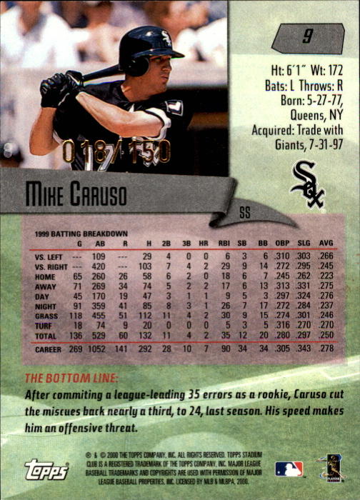 2000 Stadium Club First Day Issue #9 Mike Caruso