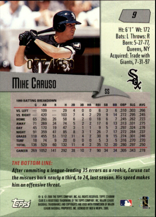 2000 Stadium Club One of a Kind #9 Mike Caruso