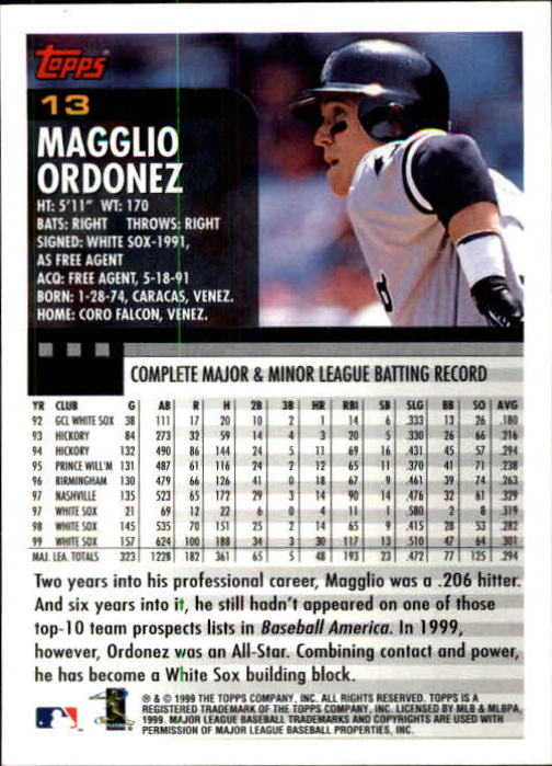 2000 Topps Limited #13 Magglio Ordonez back image