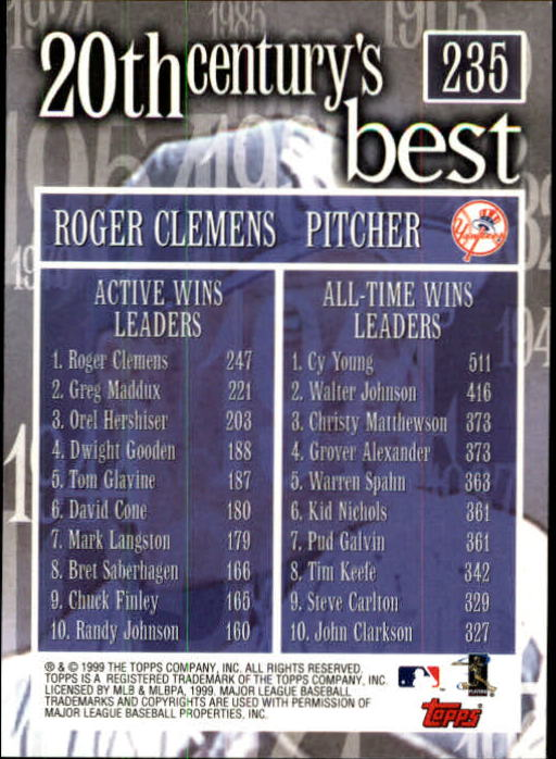2000 Topps Limited #235 Roger Clemens 20CB back image