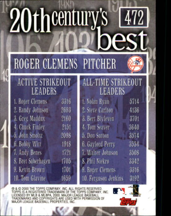2000 Topps Limited #472 Roger Clemens 20CB back image