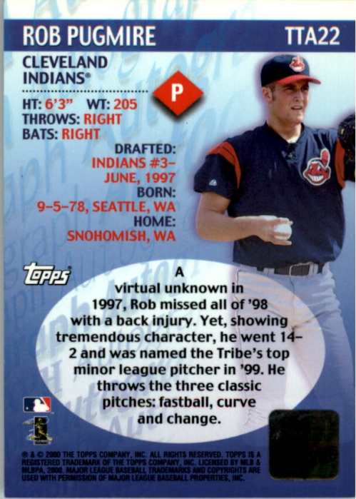 2000 Topps Traded Autographs #TTA22 Rob Pugmire back image