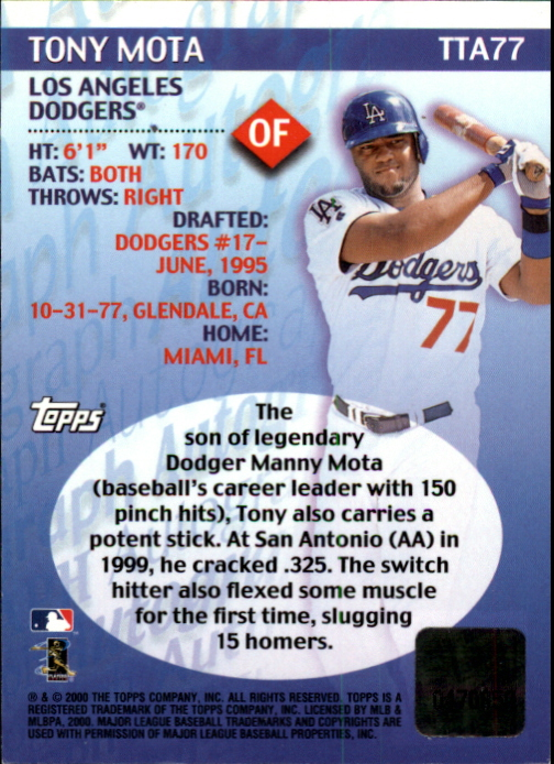 2000 Topps Traded Autographs #TTA77 Tony Mota back image