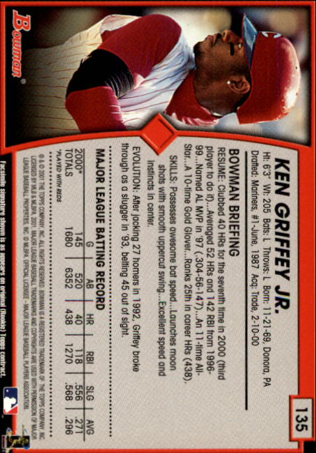 2001 Bowman #135 Ken Griffey Jr. back image