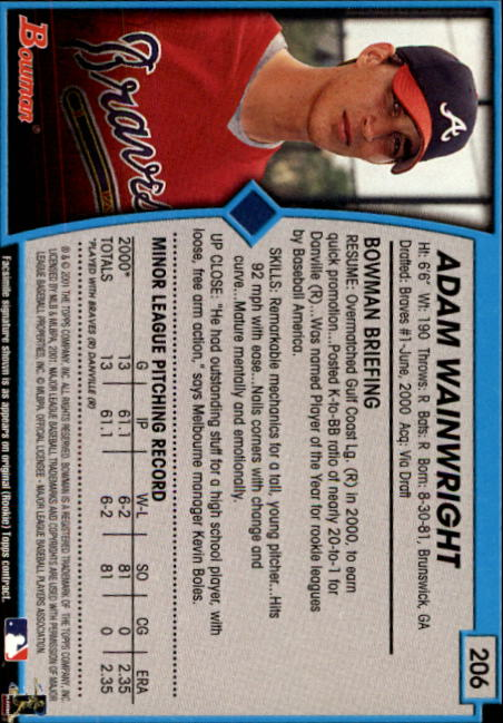 2001 Bowman #206 Adam Wainwright back image