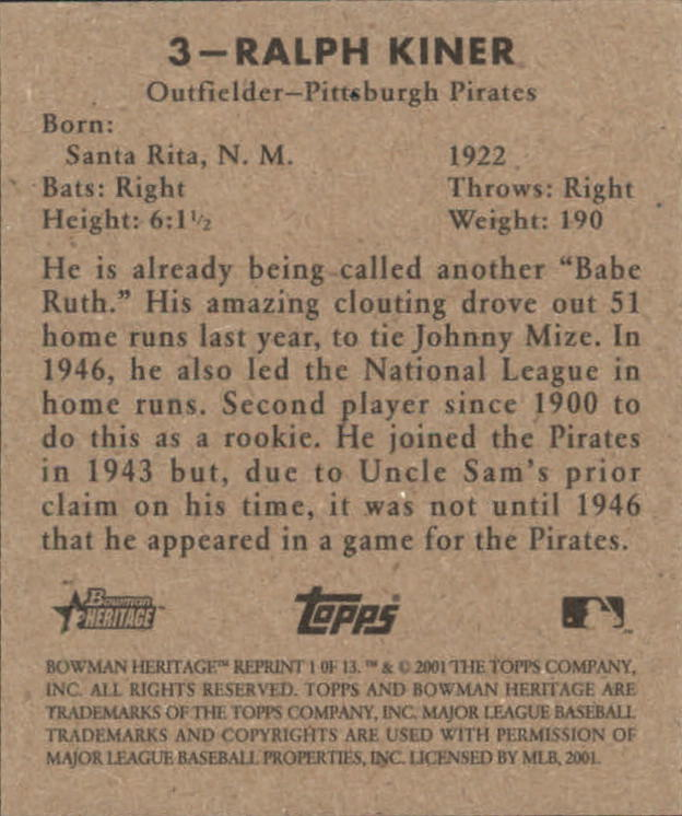 2001 Bowman Heritage 1948 Reprints #1 Ralph Kiner back image