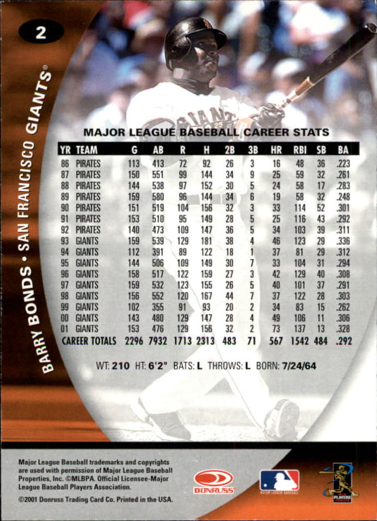 2001 Donruss Class of 2001 #2 Barry Bonds back image