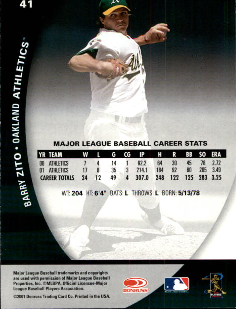 2001 Donruss Class of 2001 #41 Barry Zito back image
