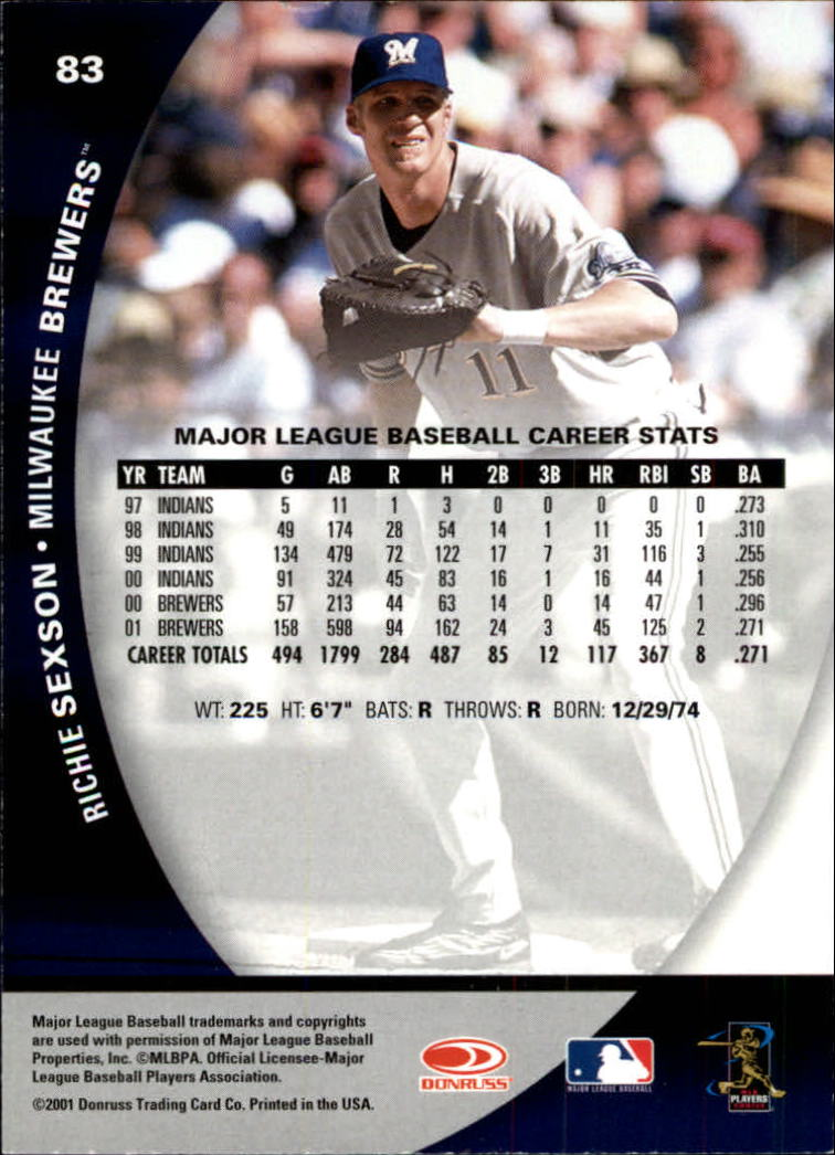 2001 Donruss Class of 2001 #83 Richie Sexson back image