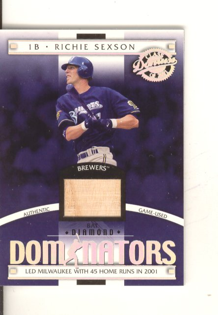 2001 Donruss Class of 2001 Diamond Dominators #DM25 Richie Sexson Bat/725