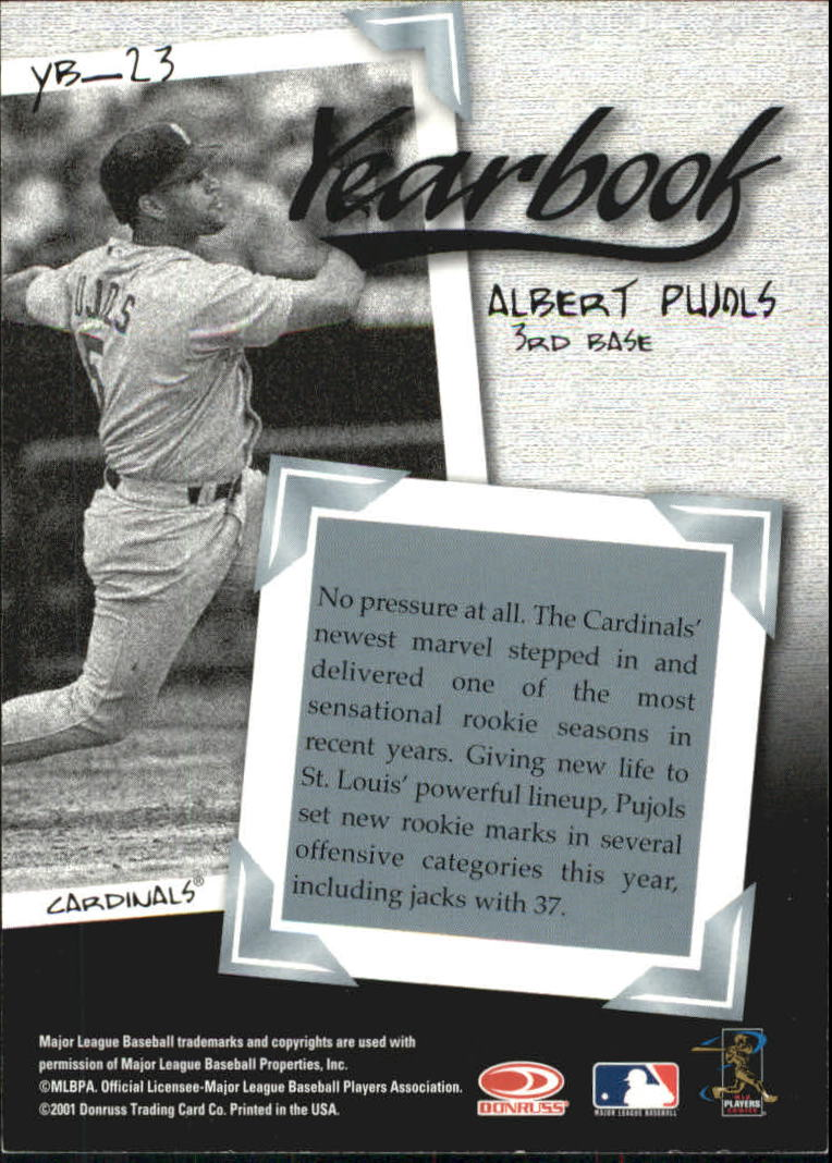 2001 Donruss Class of 2001 Yearbook #YB23 Albert Pujols back image