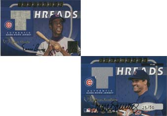 2001 Donruss Elite Throwback Threads Autographs #TT39 Ernie Banks/Ryne Sandberg/25