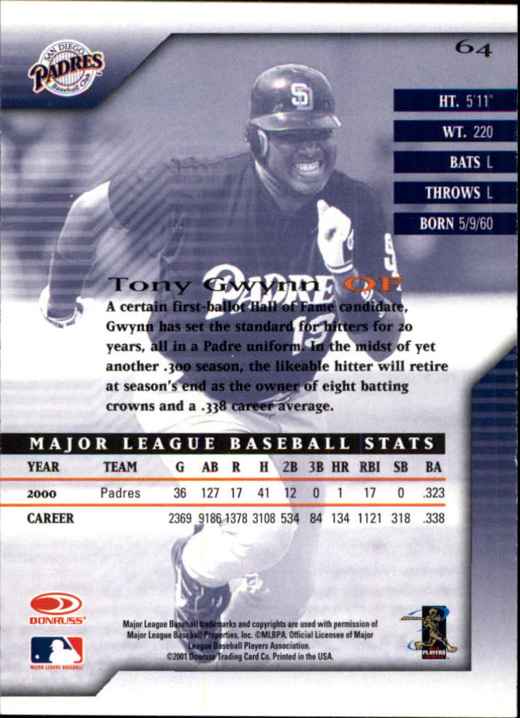 2001 Donruss Signature #64 Tony Gwynn back image