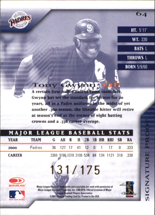 2001 Donruss Signature Proofs #64 Tony Gwynn back image
