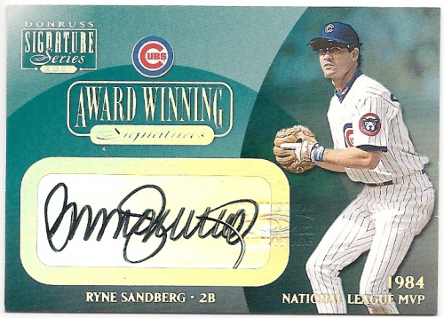 2001 Donruss Signature Award Winning Signatures #25 Ryne Sandberg/84