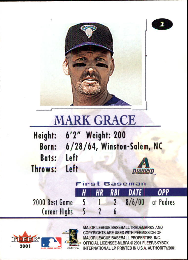 2001 Fleer Authority #1 Mark Grace back image