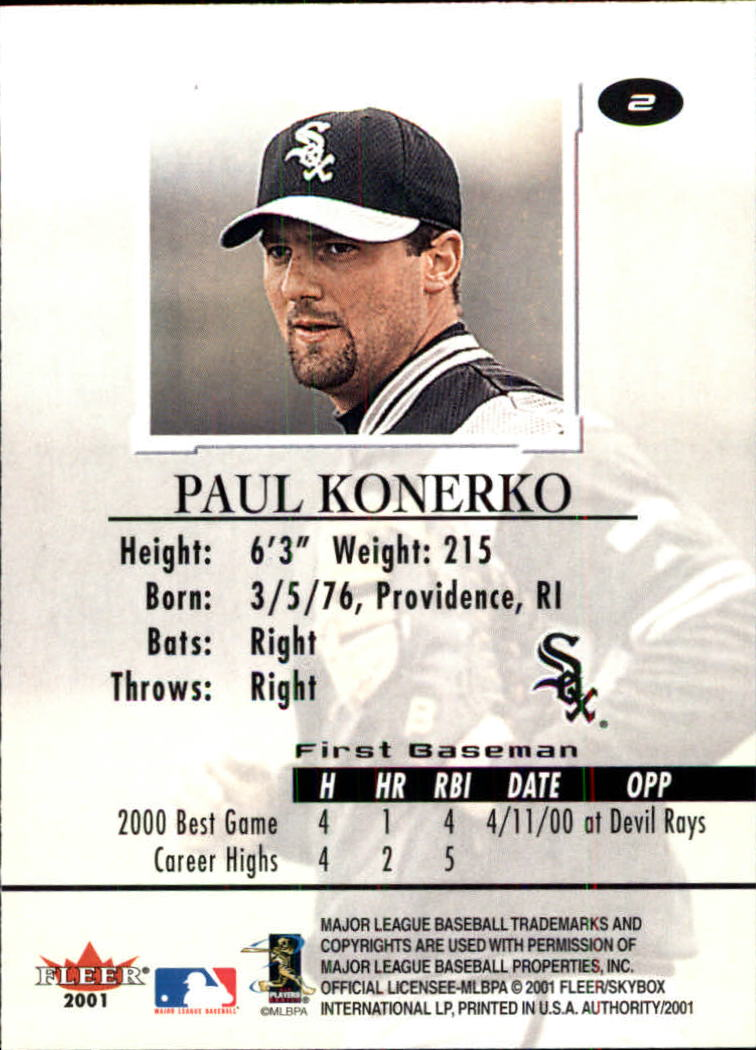 2001 Fleer Authority #2 Paul Konerko back image