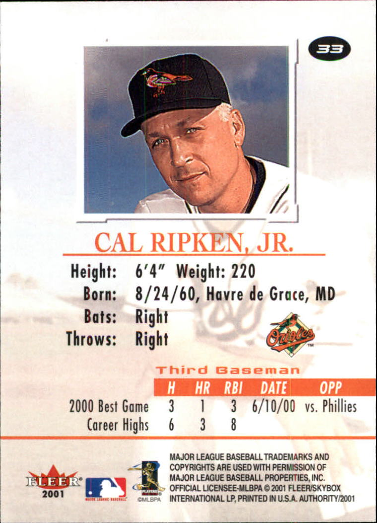 2001 Fleer Authority #33 Cal Ripken back image