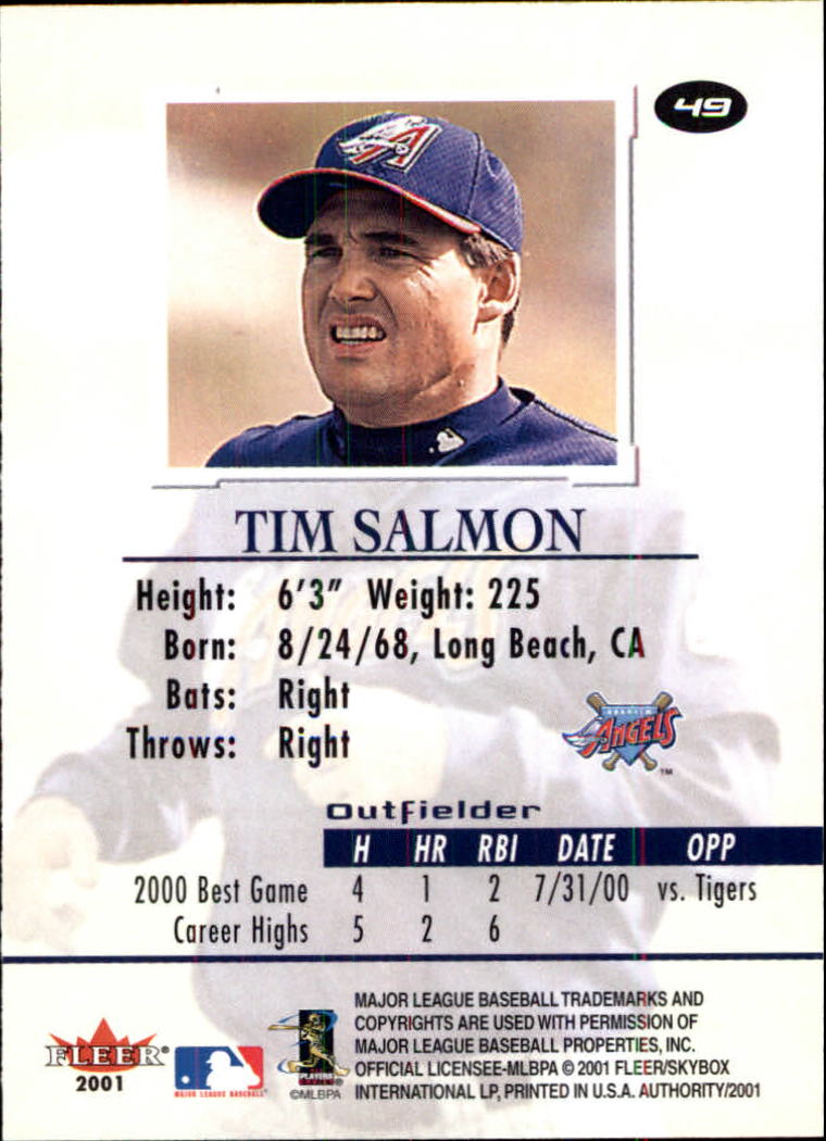 2001 Fleer Authority #49 Tim Salmon