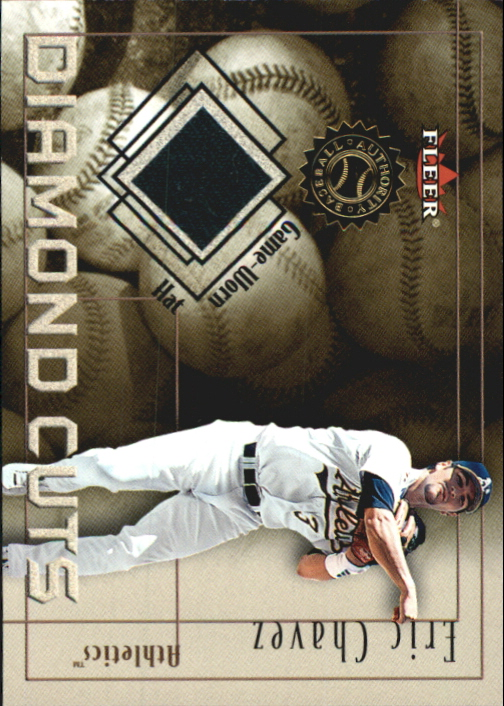 2001 Fleer Authority Diamond Cuts Memorabilia #14 Eric Chavez Hat/240