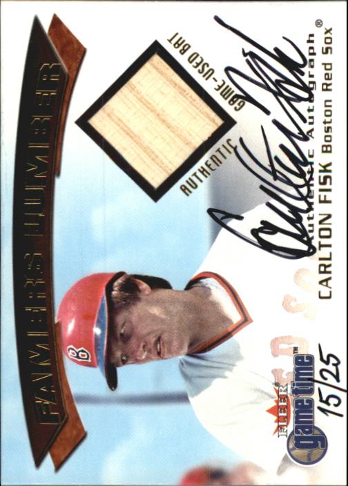 2001 Fleer Game Time Famers Lumber Autographs #7 Carlton Fisk