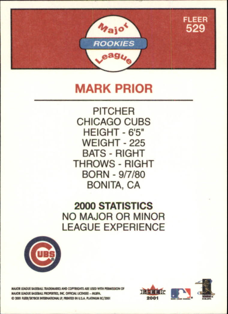 2001 Fleer Platinum #529 Mark Prior DP RC back image