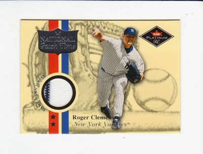 2001 Fleer Platinum National Patch Time #11 Roger Clemens White S2
