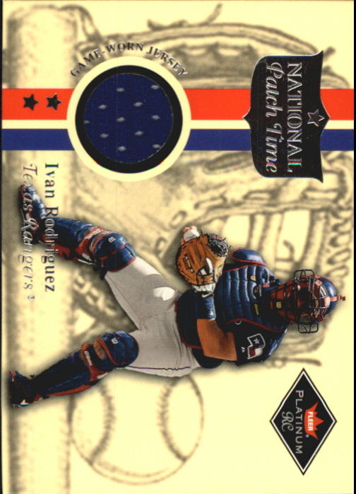2001 Fleer Platinum National Patch Time #48 Ivan Rodriguez Blue S1
