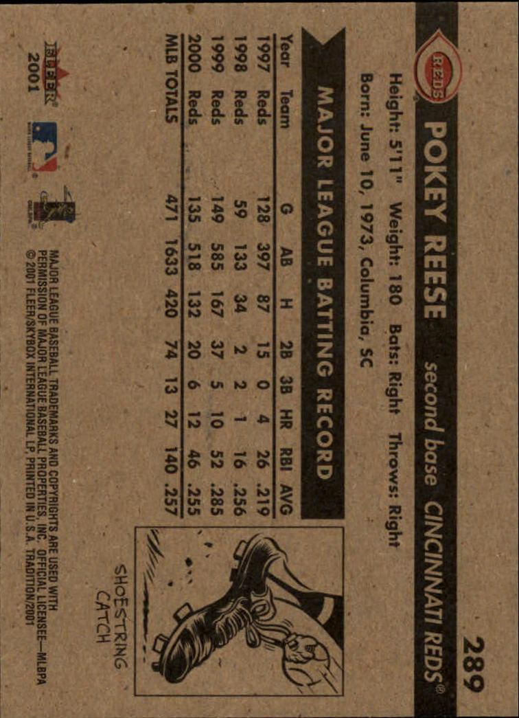 2001 Fleer Tradition #289 Pokey Reese back image