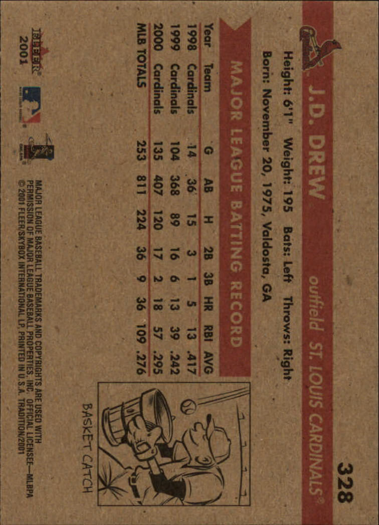 2001 Fleer Tradition #328 J.D. Drew back image