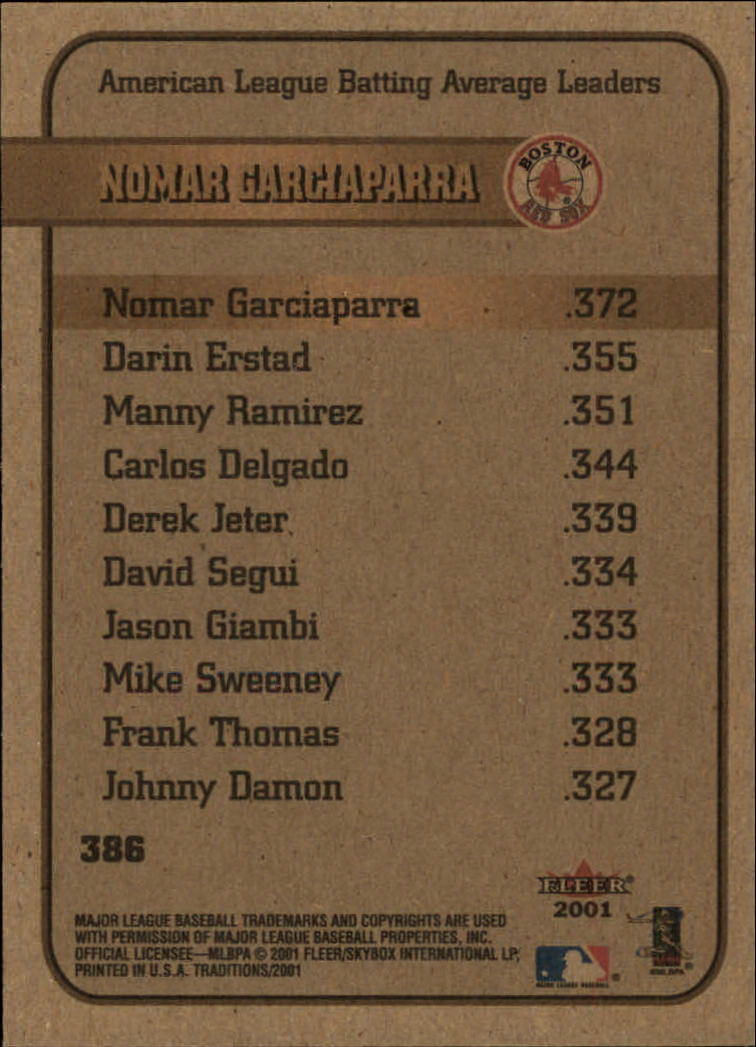 2001 Fleer Tradition #386 Nomar Garciaparra LL back image