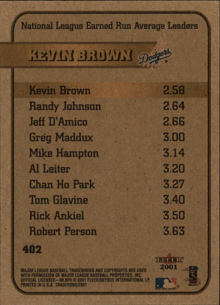 2001 Fleer Tradition #402 Kevin Brown LL