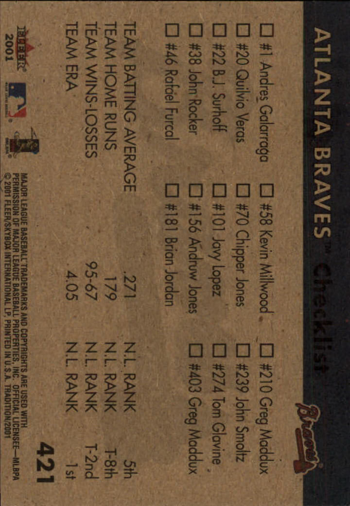 2001 Fleer Tradition #421 Atlanta Braves CL back image