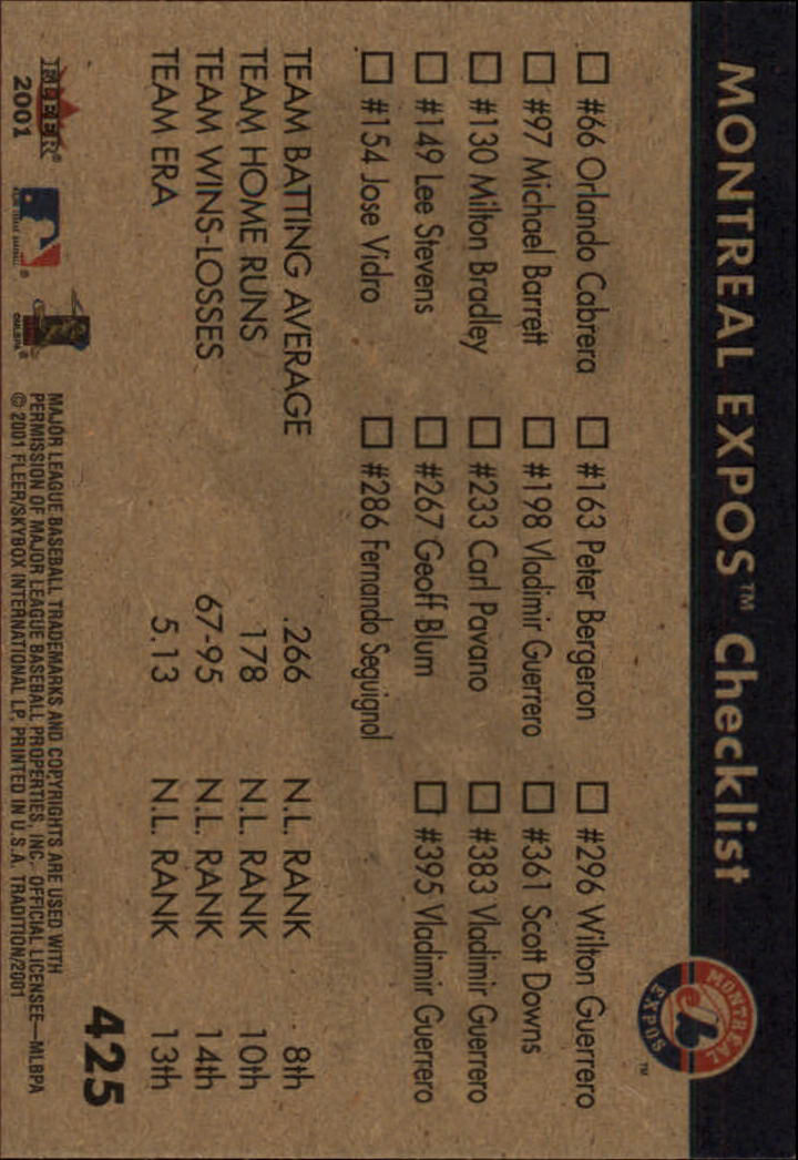 2001 Fleer Tradition #425 Montreal Expos CL back image