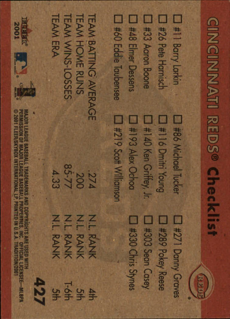 2001 Fleer Tradition #427 Cincinnati Reds CL back image