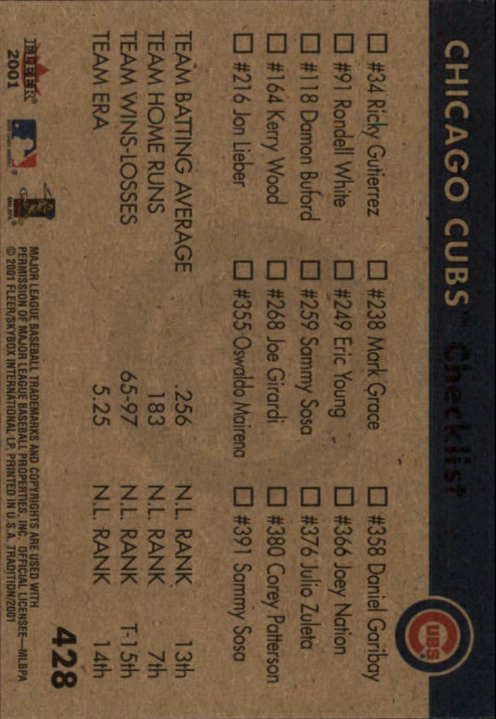 2001 Fleer Tradition #428 Chicago Cubs CL back image