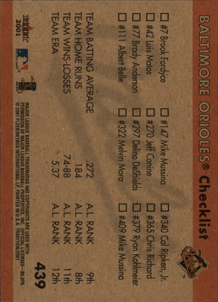 2001 Fleer Tradition #439 Baltimore Orioles CL back image