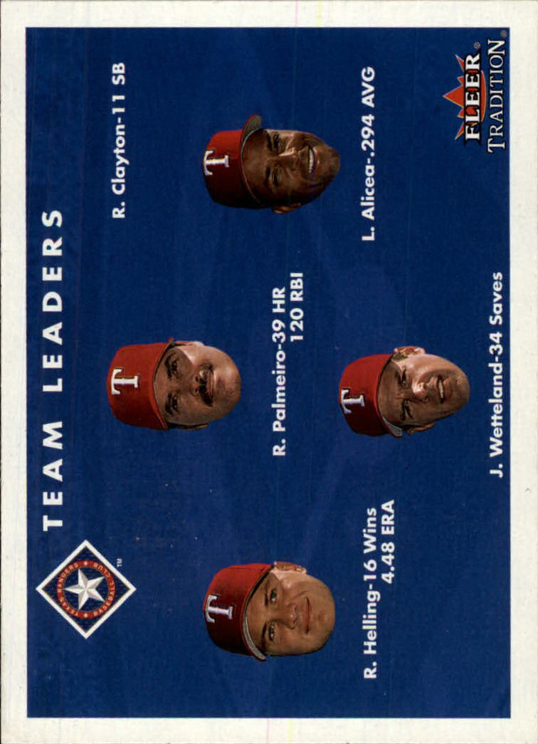 2001 Fleer Tradition #450 Texas Rangers CL