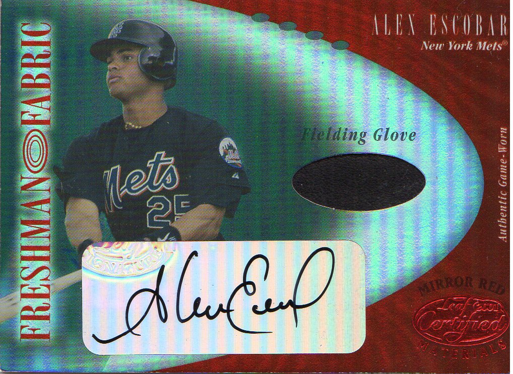 2001 Leaf Certified Materials Mirror Red #111 Alex Escobar FF Fld Glv AU