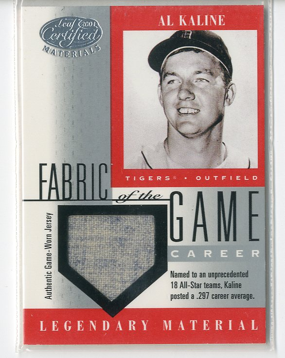 2001 Leaf Certified Materials Fabric of the Game #6CE Al Kaline/21